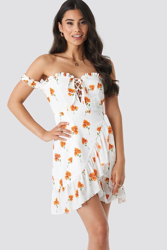 Off Shoulder Frill Dress Orange flower