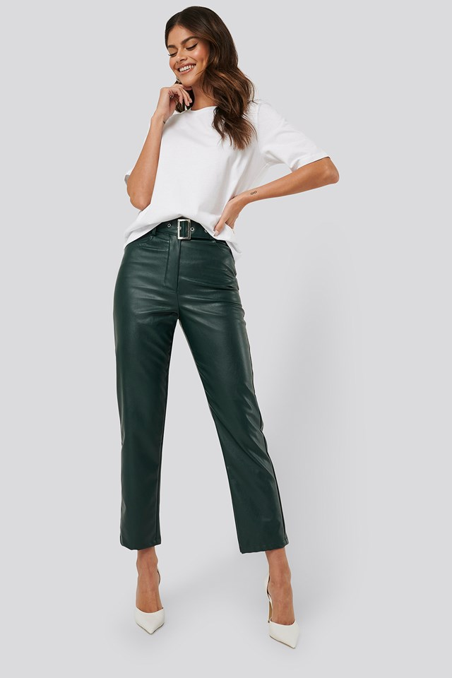 Belted Pu Leather Pants Emerald