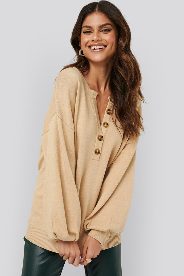 Buttoned Knitted Sweater Beige