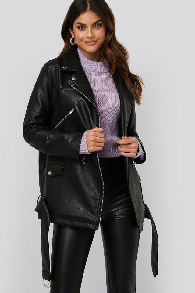 Pu Leather Oversized Jacket Black