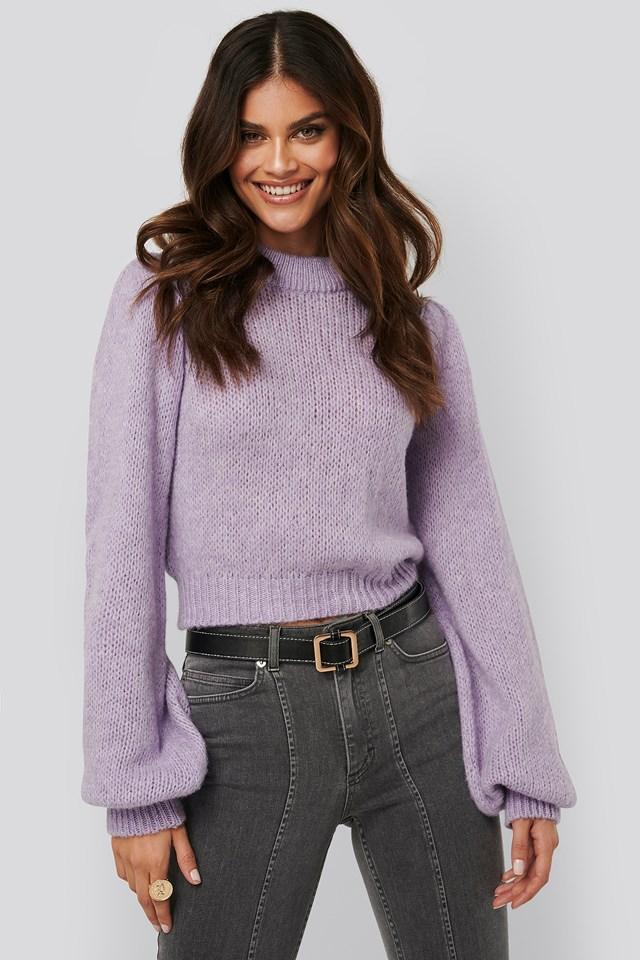 Puff long sleeve sweater Lilac
