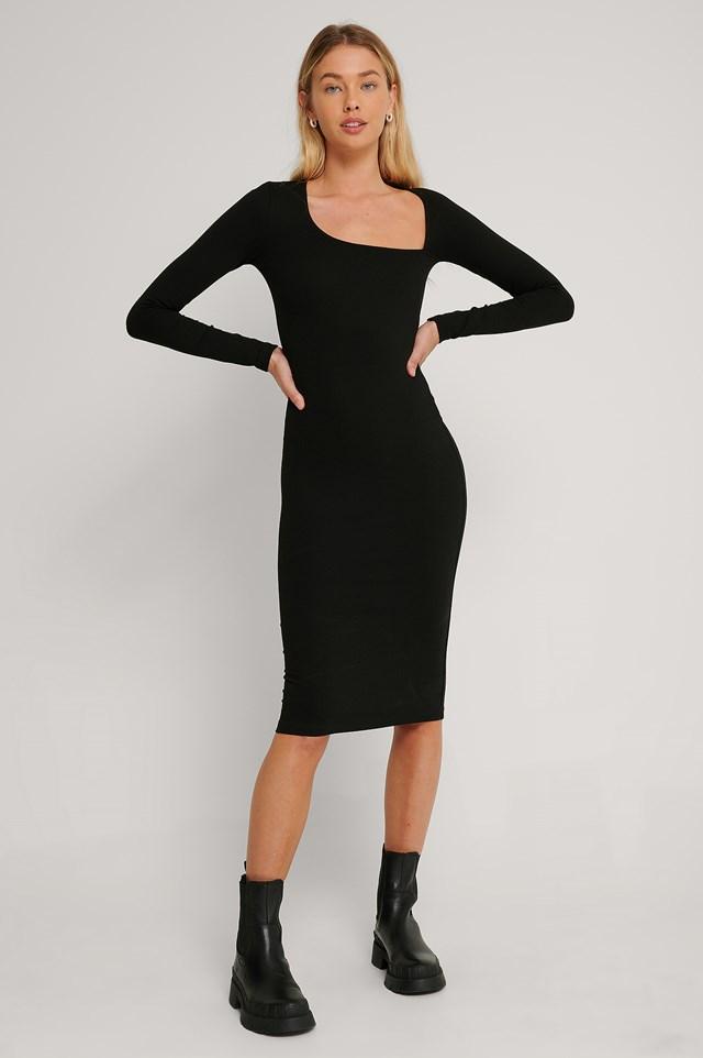 Cut Detail Long Sleeve Dress Black