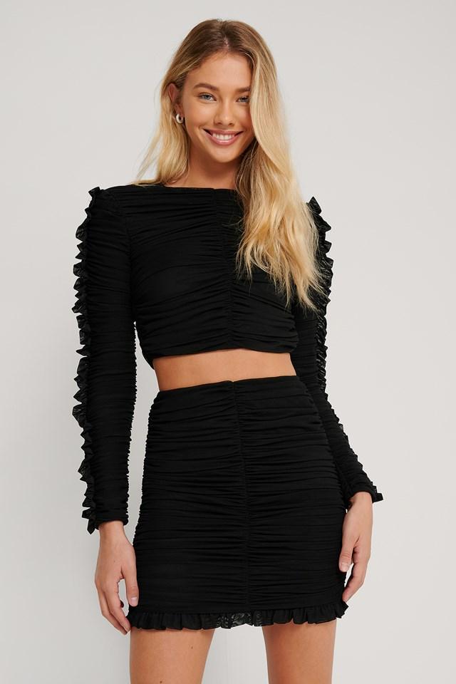 Frill Detail Gathered Skirt Black