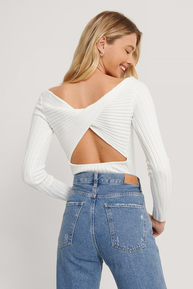 Recycled Twisted Back Long Sleeve Top White