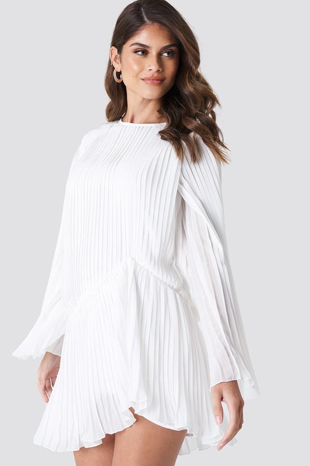 Pleated Asymmetric Flounce Dress White