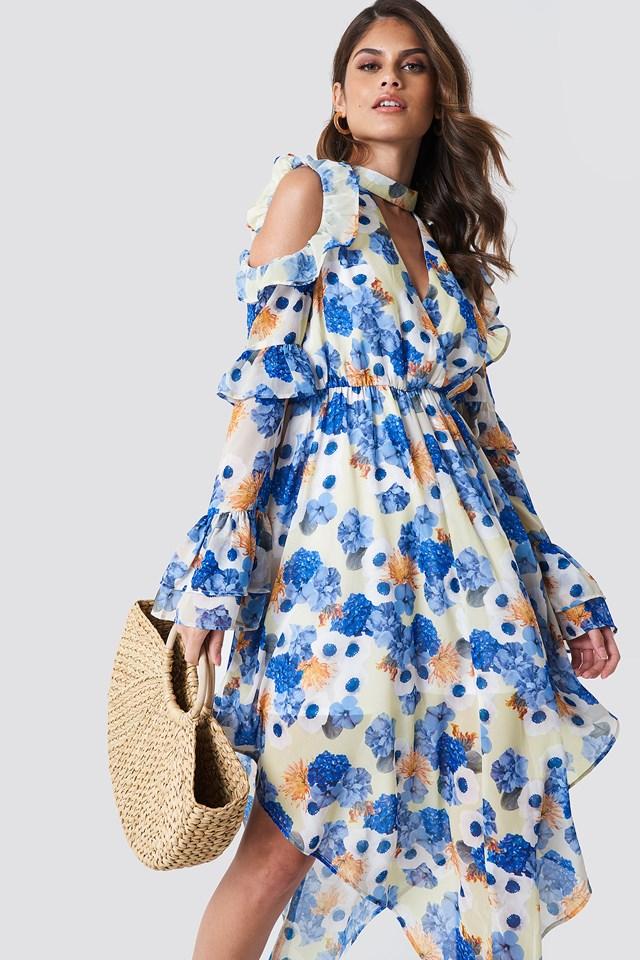 Cold Shoulder Flounce Maxi Dress Blue Flower Print