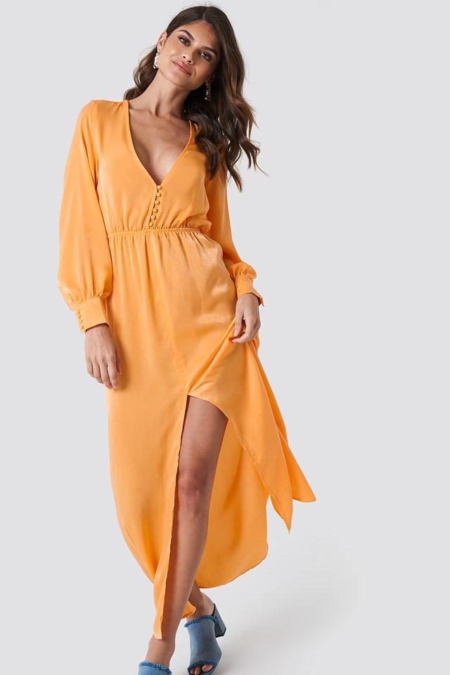 Front Button Maxi Dress Orange