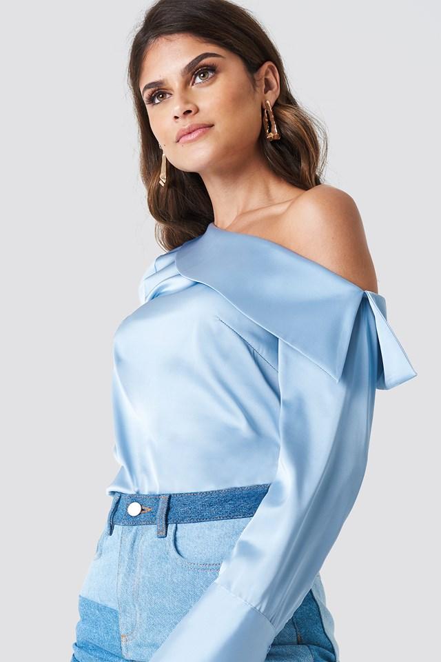 One Shoulder Folded Blouse Light Blue