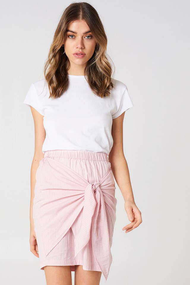 Side Knot Skirt Light Pink