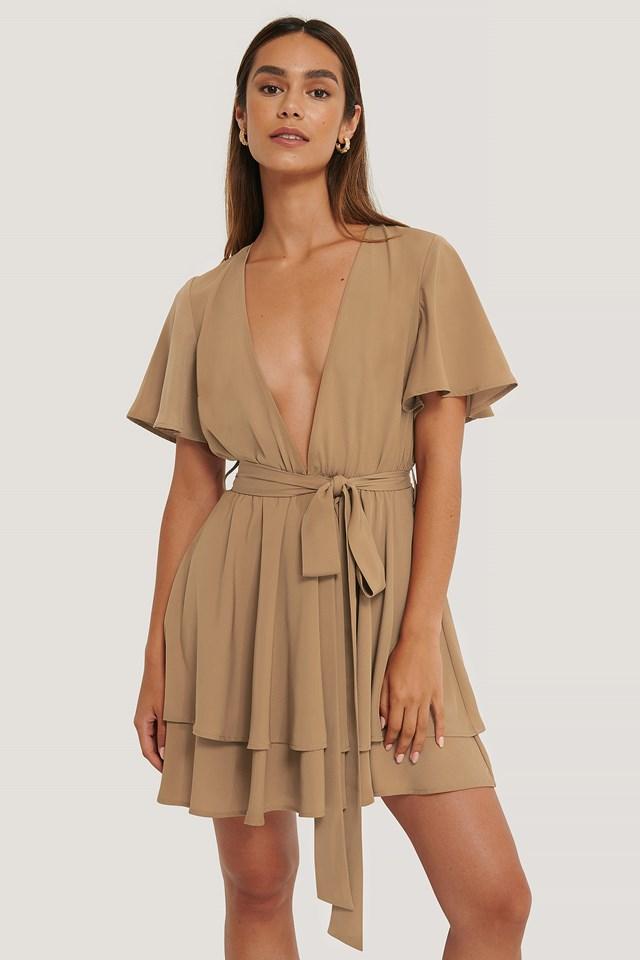 Deep Front Mini Dress Brown