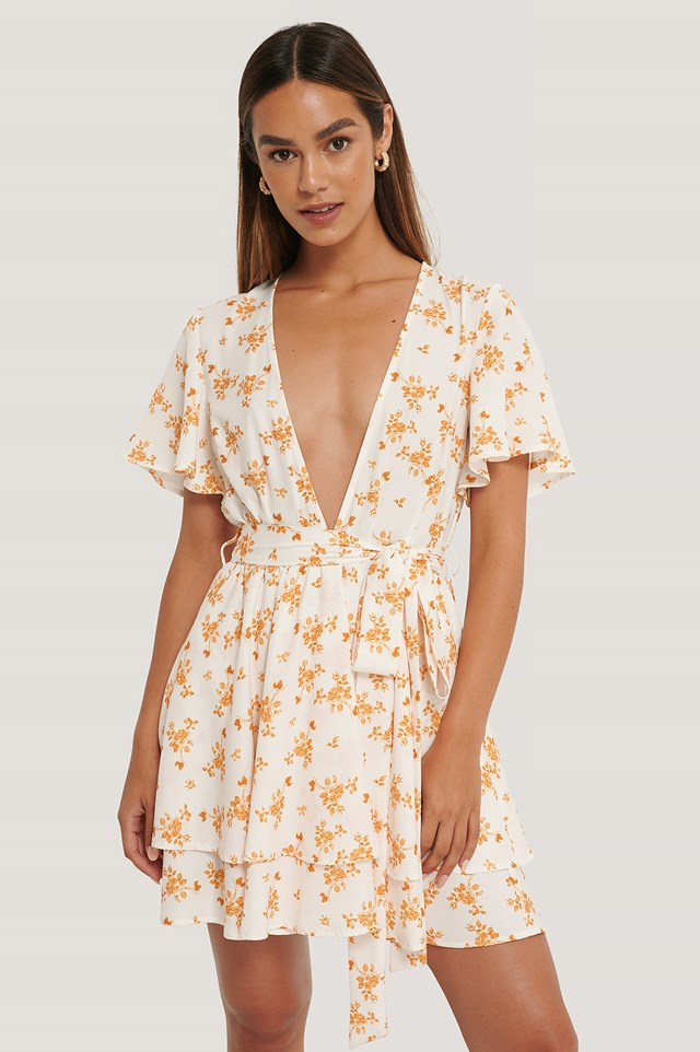 Deep Front Mini Dress Flower Print