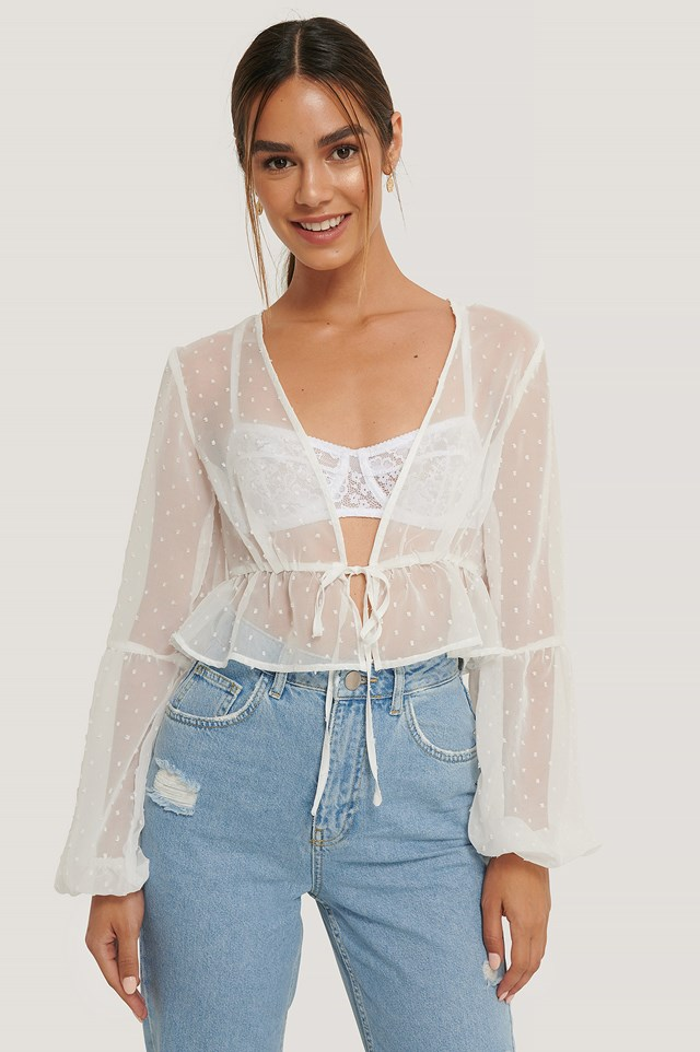 Dotted Flounce Top White