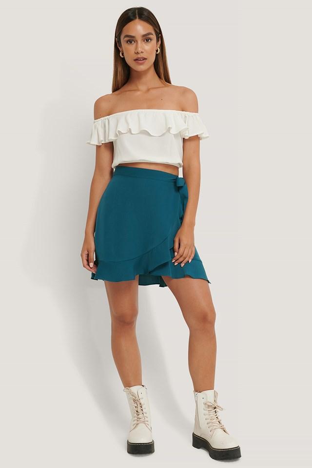 Flounce Overlap Mini Skirt Petrol