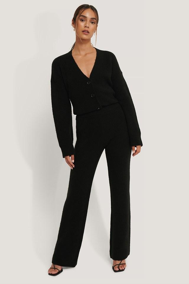 High Waist Knitted Pants Black