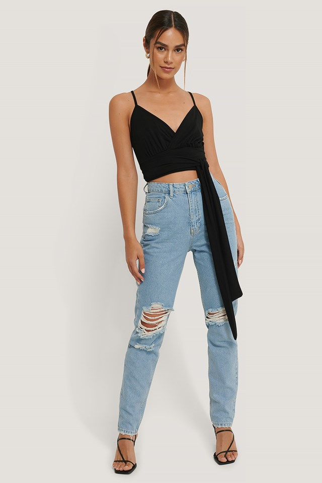 Ripped Knee Jeans Mid Blue