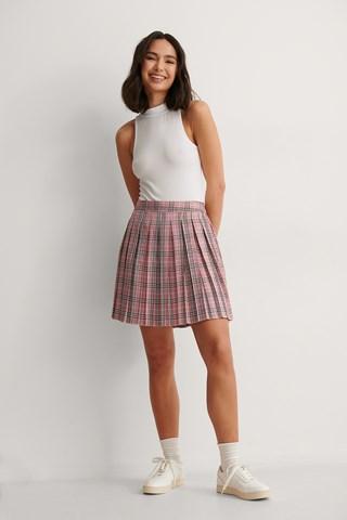 Checked Pleat Mini Checked Skirt