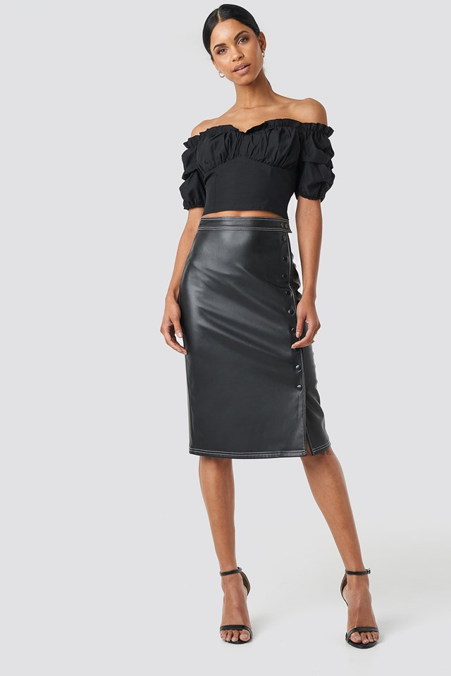 Front Button Contrast Faux Leather Skirt Black