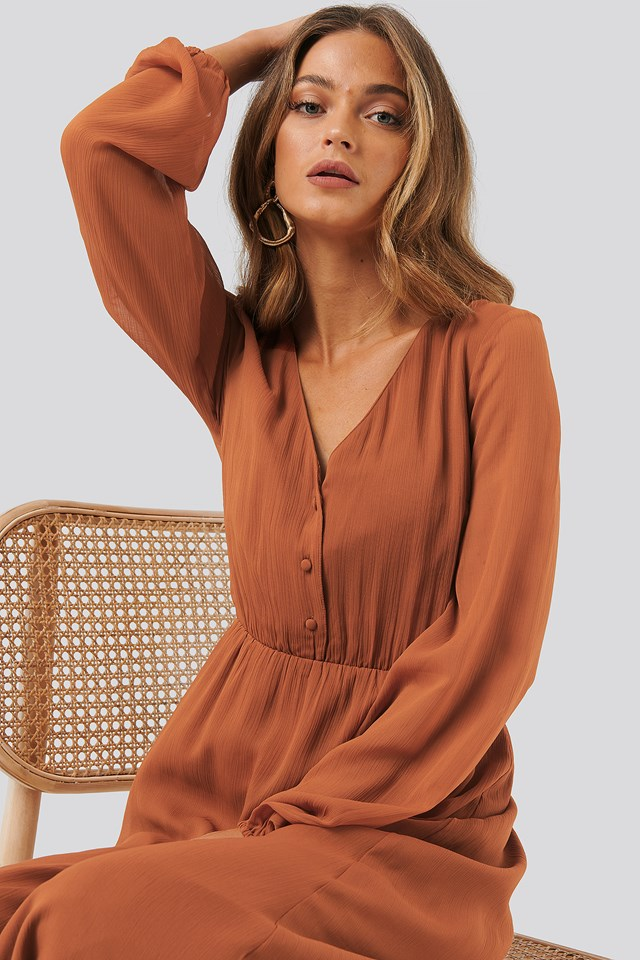 Chiffon Button Detail Dress Bronze