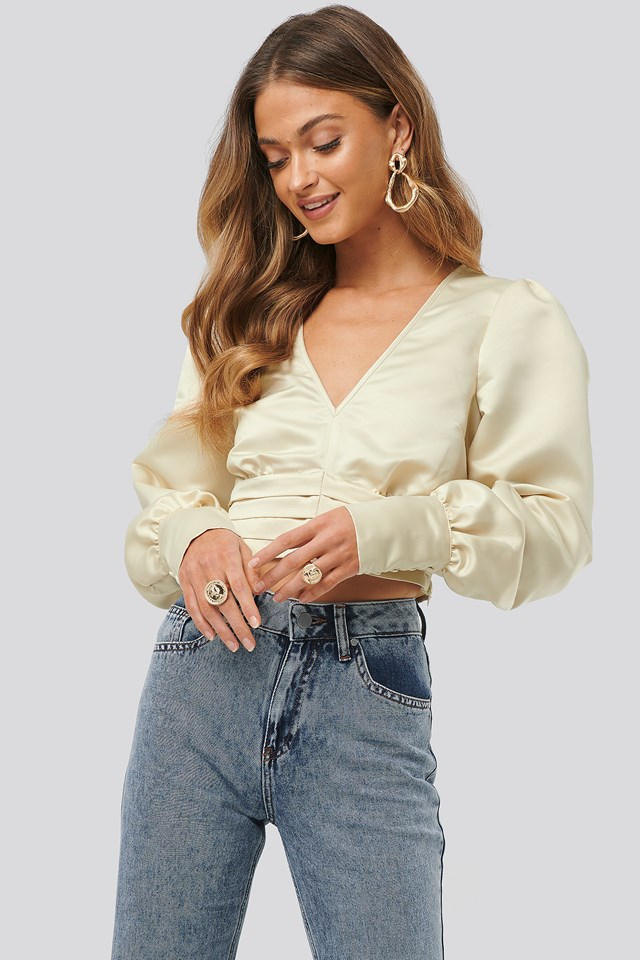Draped Waist Blouse Cream