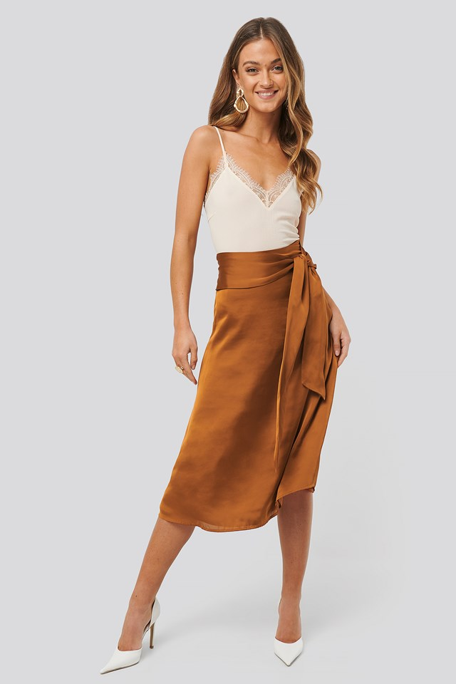 Tie Waist Satin Skirt Bronze