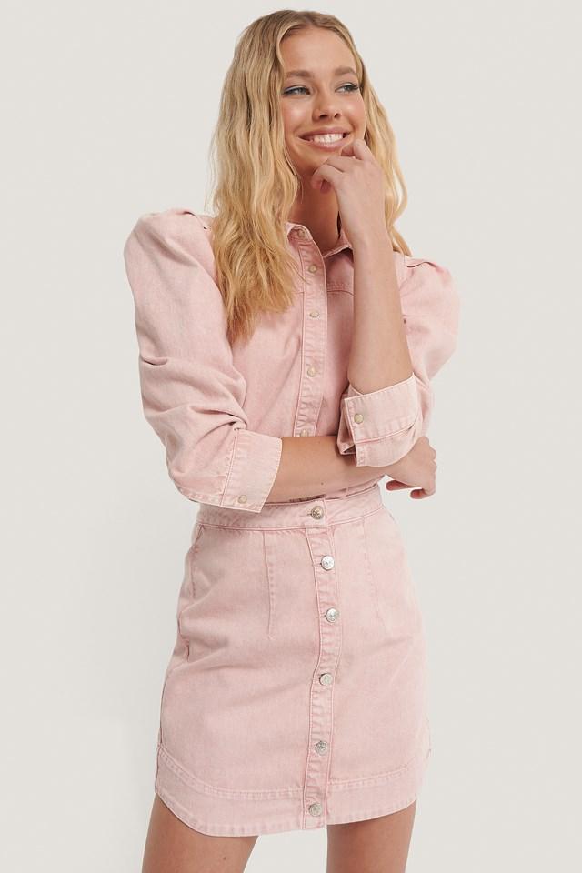 Front Button Denim Skirt Pink