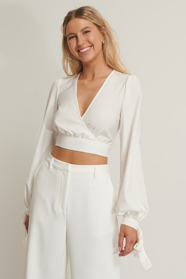 Balloon Sleeve Cropped Top White