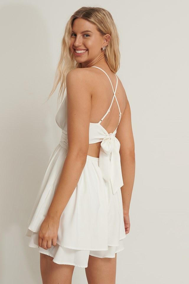 Tied Back Mini Dress White