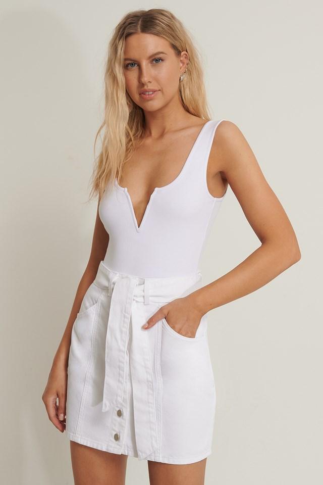 Tied Denim Skirt White