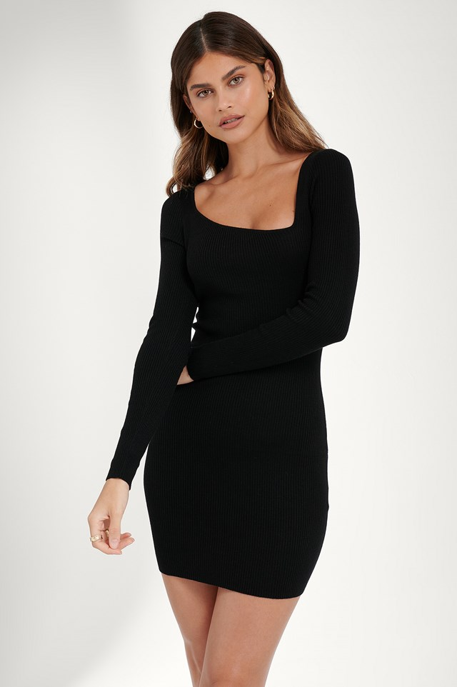 Asymmetric Neck Dress Black
