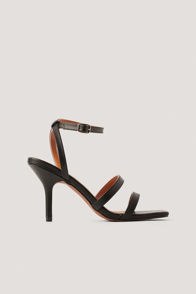 Basic Strappy Heels Black