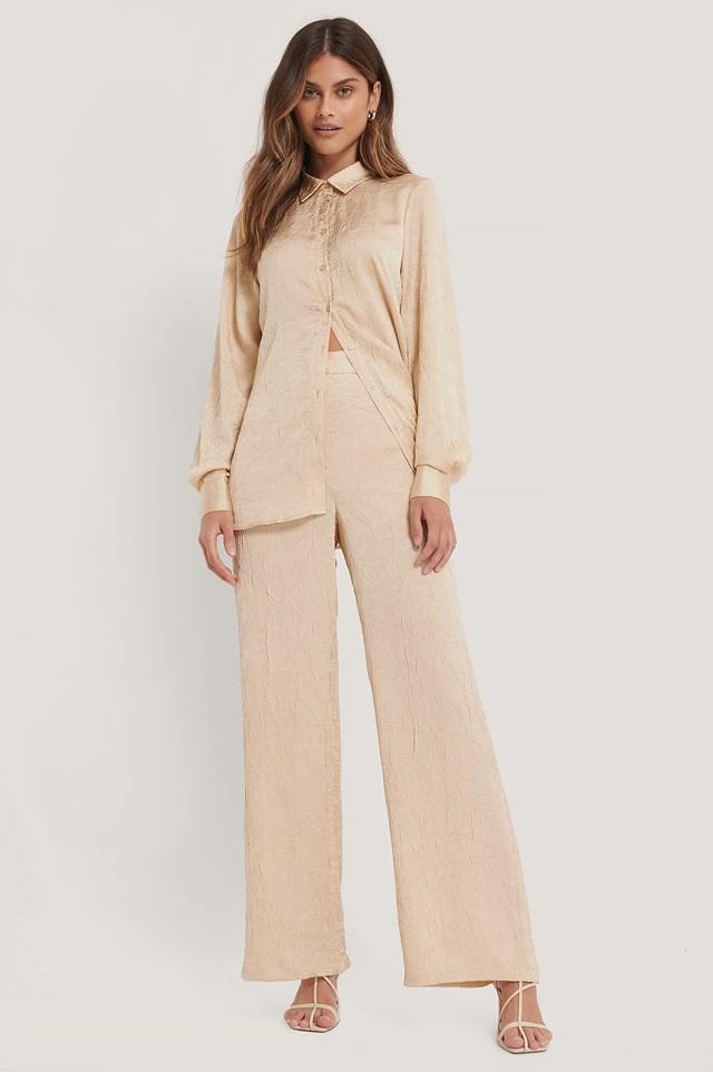 Crinkled Suit Pants Beige