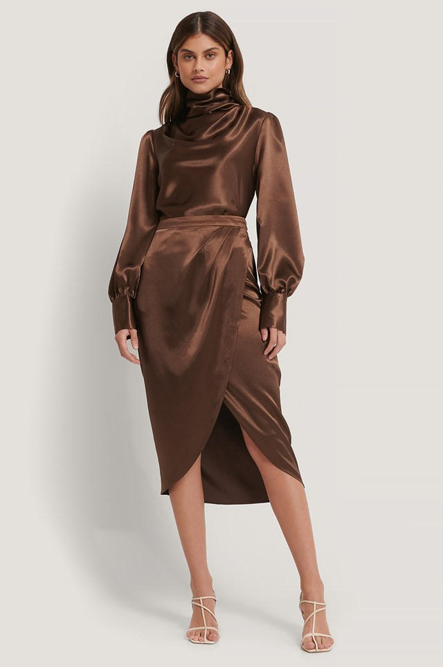 Overlap Satin Skirt Brown