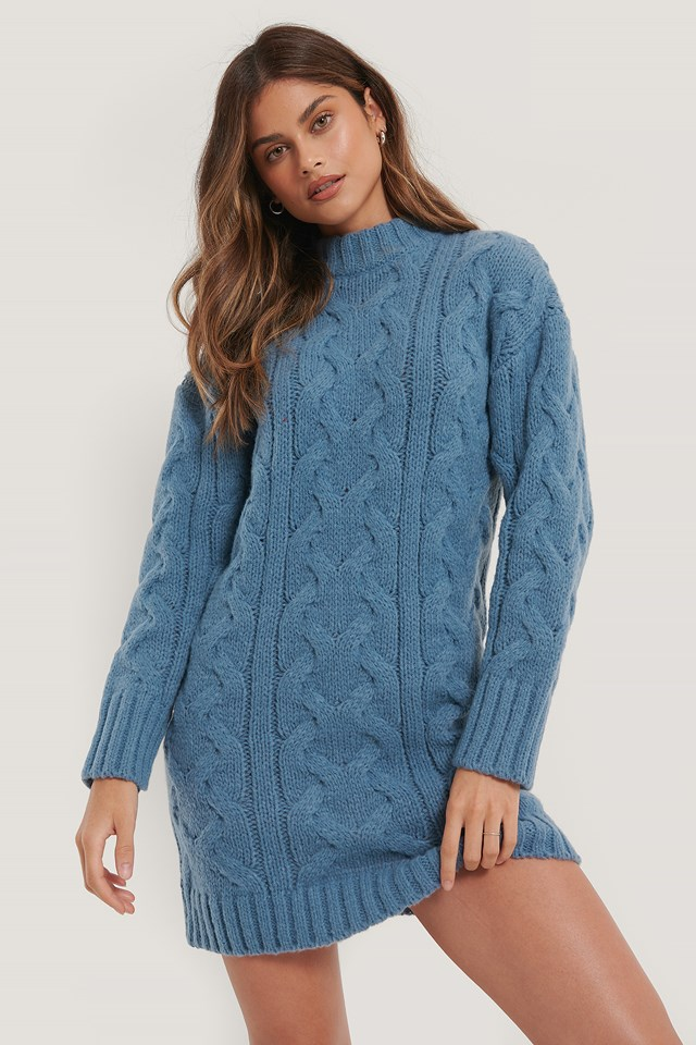 Pattern Knitted Sweater Dress Blue