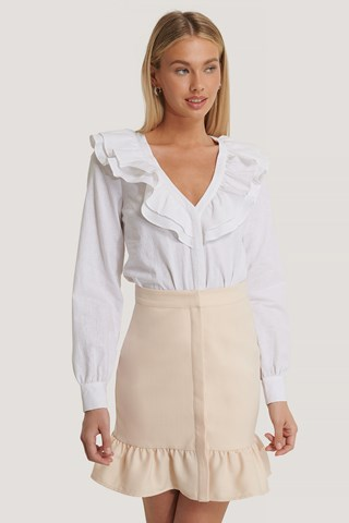 Pink Sand Button Front Flounce Skirt