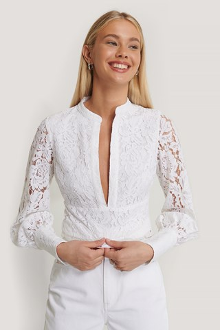 White Deep Front Lace Top