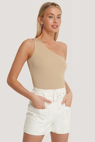 White High Waist Pocket Detail Shorts