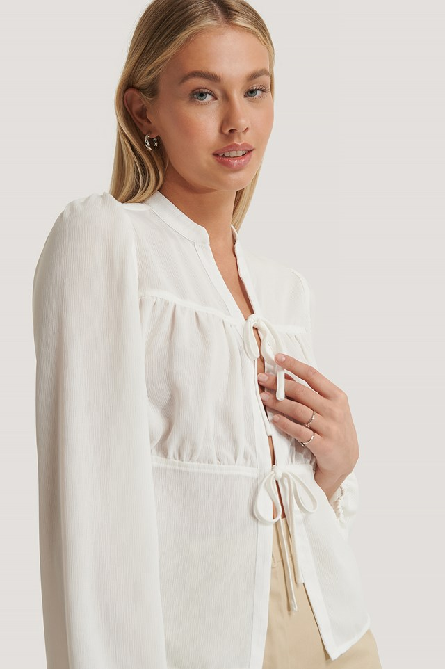 Lacing Front Blouse White