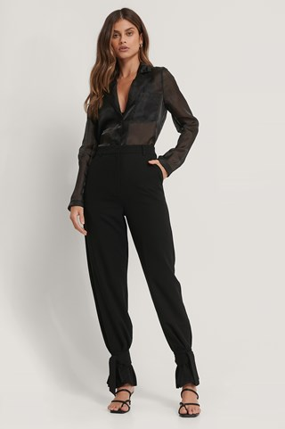 Black High Waist Tie Suit Pants