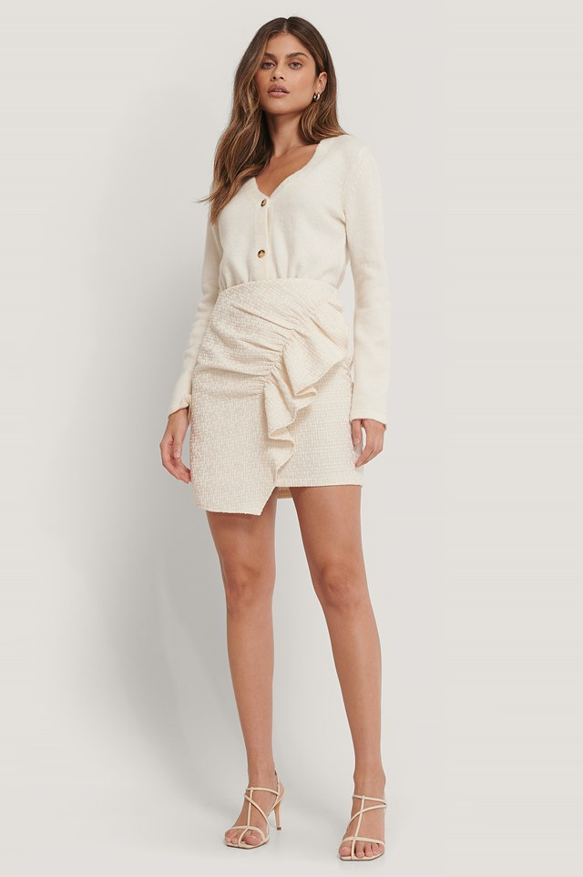 Twill Flounce Mini Skirt White
