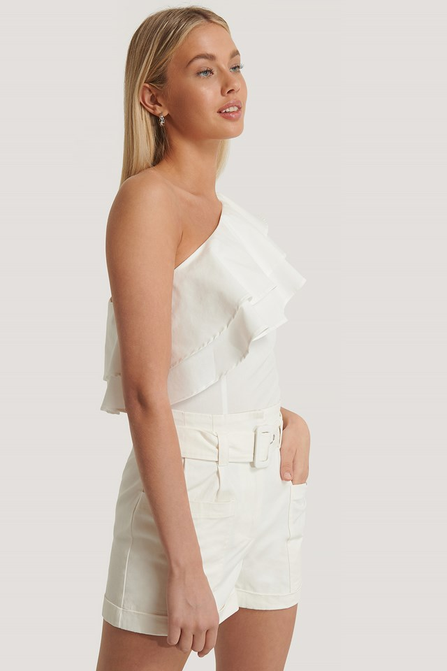 One Shoulder Flounce Top White