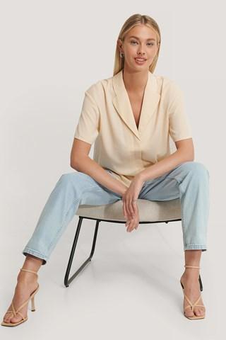 Beige Oversized Mid Sleeve Shirt
