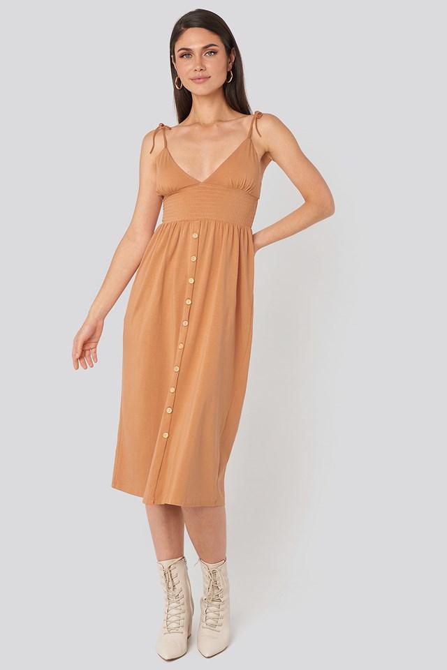 Button Detailed Cotton Dress Salmon