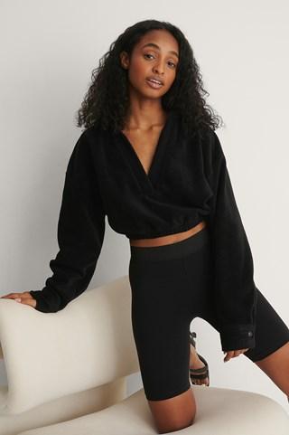Black Polo Collar Crop Sweatshirt
