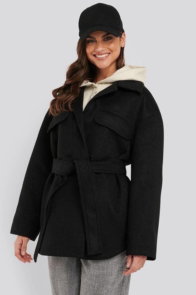 Short Belted Coat Black