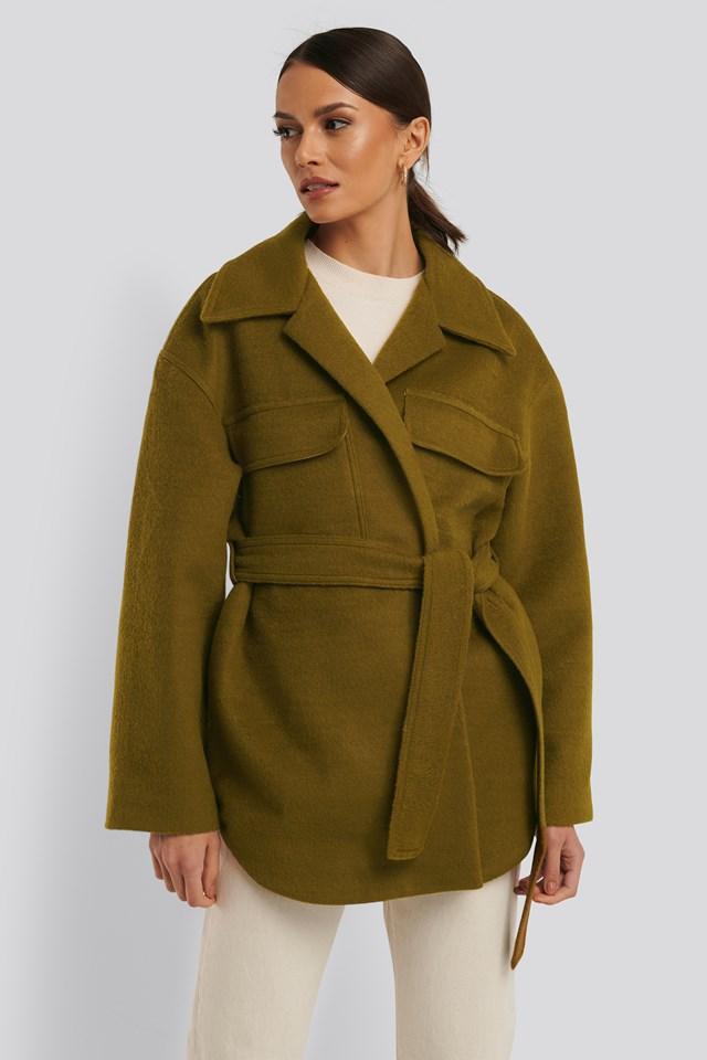 Short Belted Coat Olive