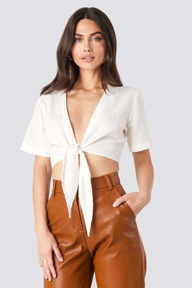 Tie Front Top White