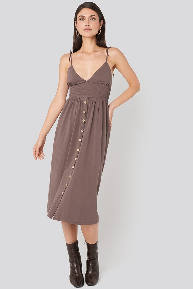 Button Detailed Cotton Dress Nude