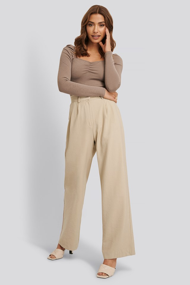 High Waisted Suit Pants Beige
