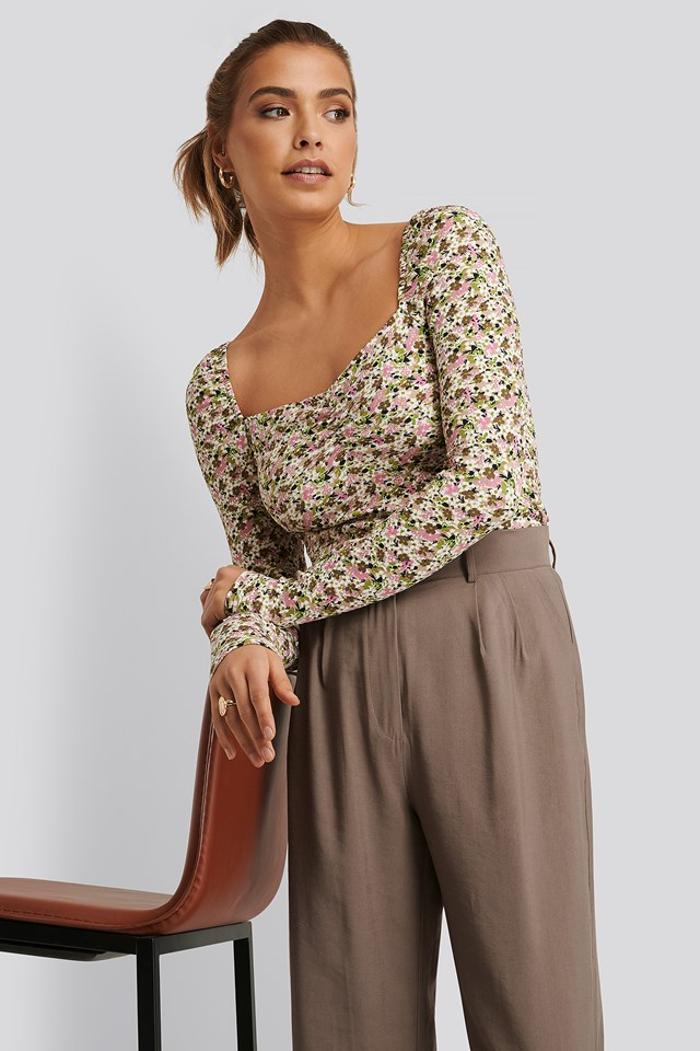 Ruched Long Sleeve Top Print