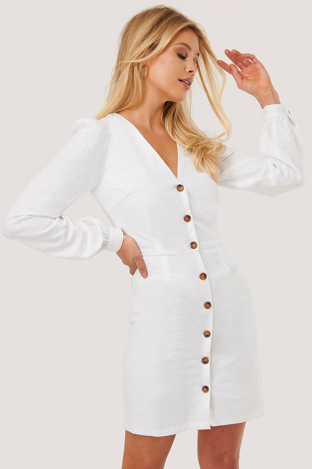Button Detail Mini Dress White